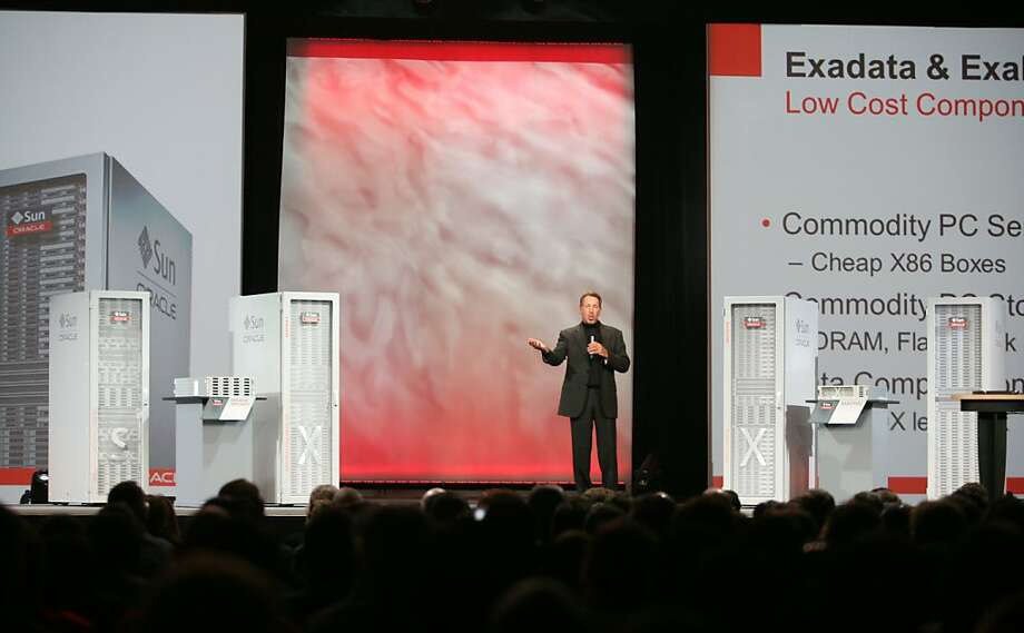 Oracle CEO Larry Ellison delivers a keynote at the Moscone Center in San Francisco during the Oracle OpenWorld 2011 on October 2, 2011 in California. AFP PHOTO / Kimihiro HOSHIRO (Photo credit should read KIMIHIRO HOSHINO/AFP/Getty Images) Photo: Kimihiro Hoshino, AFP/Getty Images