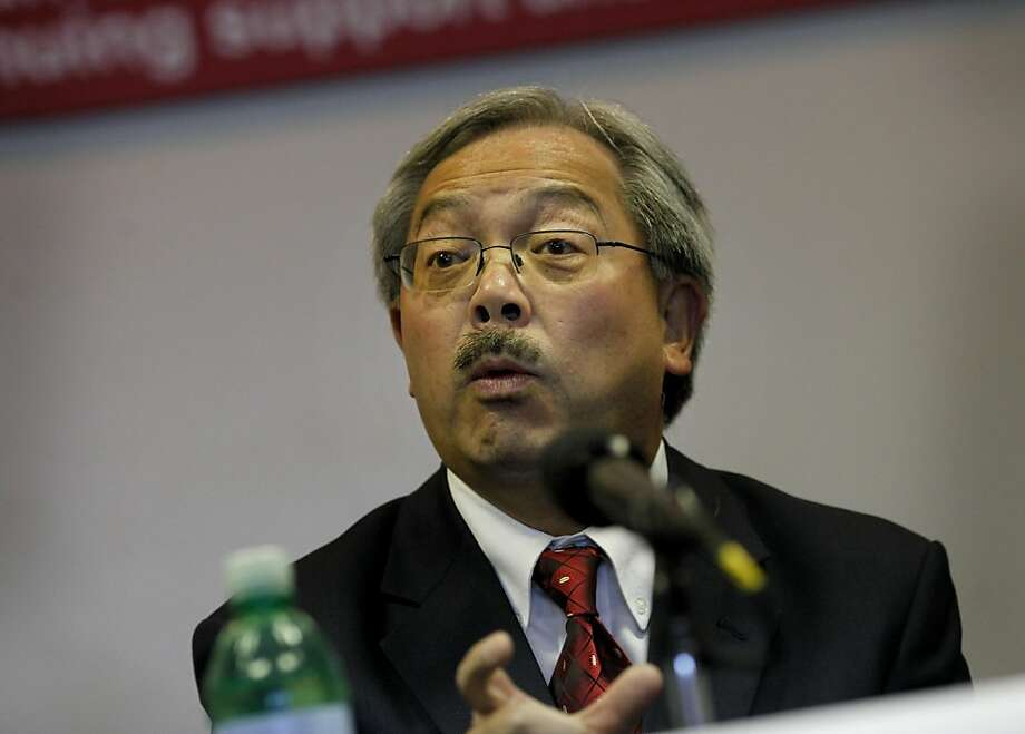 San Francisco Mayor Ed Lee made a point during the press conference. A press briefing was held at Candlestick Park Monday August 22, 2011 to discuss the fan violence that erupted after the 49er-Raider game Saturday night. Photo: Brant Ward, The Chronicle