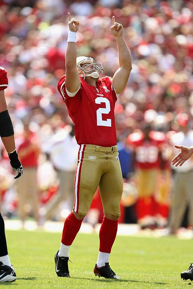 SAN FRANCISCO, CA - SEPTEMBER 11:  David Akers #2 of the San Francisco 49ers points to the sky after making a field  during their season opener against the Seattle Seahawks at Candlestick Park on September 11, 2011 in San Francisco, California.  (Photo by Ezra Shaw/Getty Images) Photo: Ezra Shaw, Getty Images