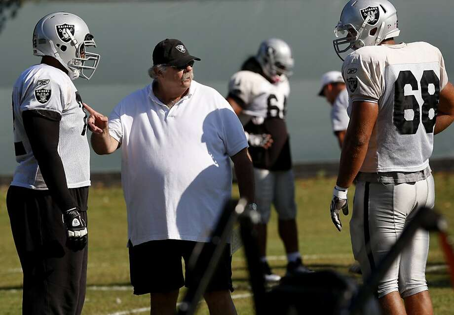 Raiders offensive line coach Bob Wylie made a point during a recent practice. Oakland Raiders first year offensive line coach Bob Wylie and his assistant Steve Wisniewski worked with their players at the practice facility in Alameda, Calif. Thursday September 29, 2011. Photo: Brant Ward, The Chronicle