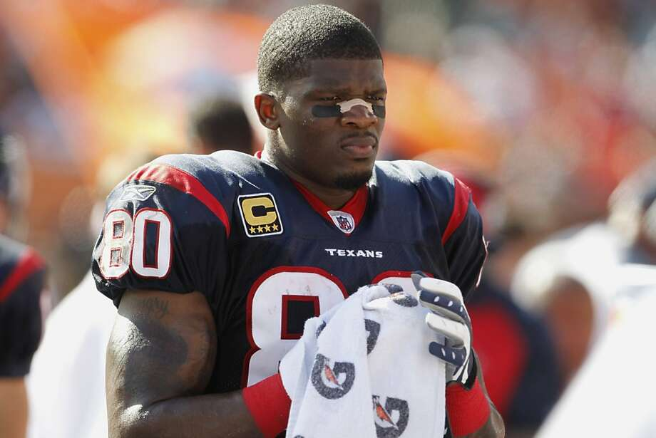 Houston Texans' wide receiver Andre Johnson (80) is seen on the sidelines during the first half of an NFL football game against the Miami Dolphins, Sunday, Sept. 18, 2011, in Miami. (AP Photo/Lynne Sladky) Photo: Lynne Sladky, AP