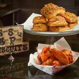 The Buffalo Chicken Wings with the Brown Sugar Black Pepper Biscuits at Wing Wings Restaurant in San Francisco, Calif., is seen on Thursday,  September 29th, 2011.