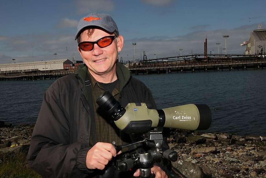 Eddie Bartley bird watching at Herron's Head Park in San Francisco, Calif., on Tuesday, March 8, 2011. Photo: Liz Hafalia, The Chronicle