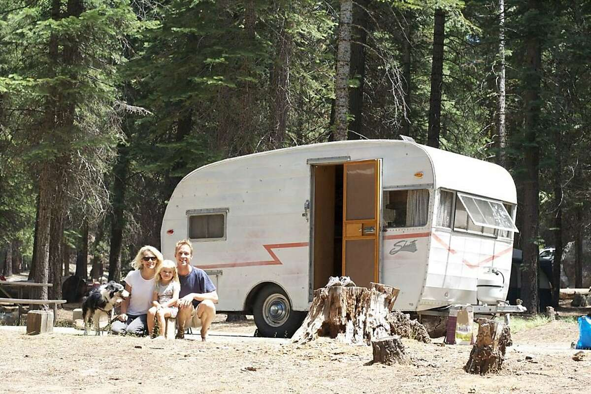 The Baedeker family, with their 1958 Shasta trailer, at the Silver Fork Campground in the El Dorado National Forest.