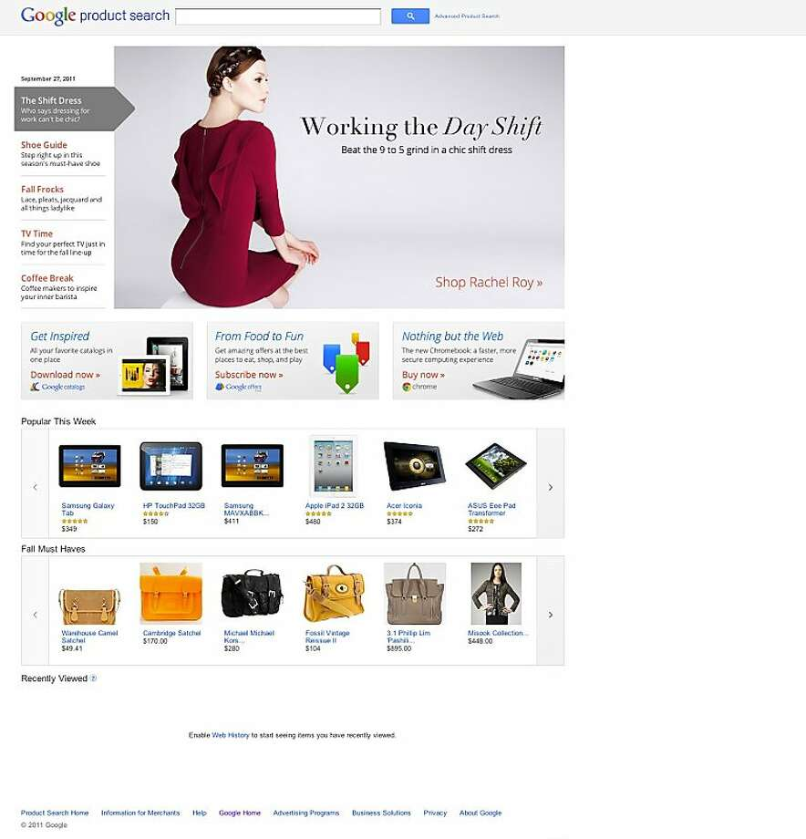 "Google's new apparel product search ""experience"" homepage. Photo: Google"