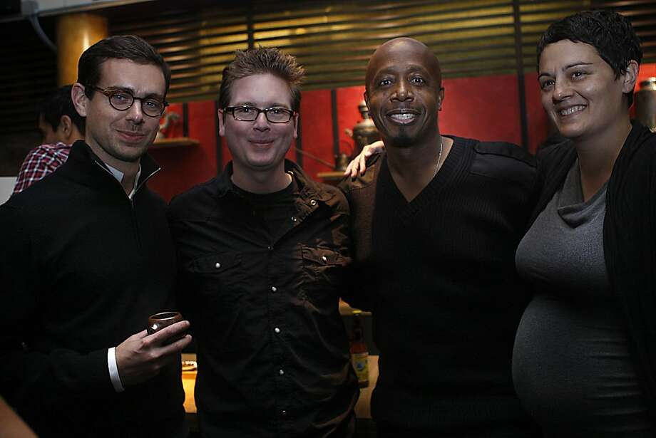 Twitter co-founder Biz Stone (second from left) and his wife, Livia (right), are hosting the first fundraiser ever for their newly formed Biz and Livia Stone Foundation at Samovar Tea Lounge in San Francisco, California, as Jack Dorsey (left) and M.C. Hammer (second from right) join them on Friday, September 23, 2011.  They are raising money to help the Henry Haight School in Alameda. Photo: Liz Hafalia, The Chronicle