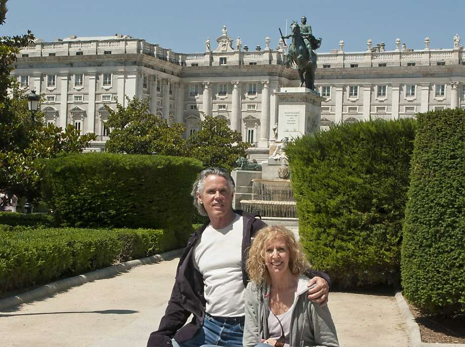William Leidenthal and Luanne Mullin in front of the Palacio Real at the Plaza de Oriente in Madrid, Spain. Photo: Courtesy Of William Leidenthal