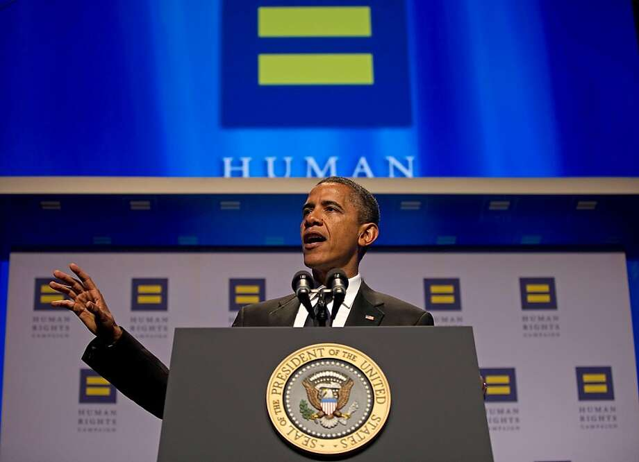 US President Barack Obama delivers remarks at the Human Rights Campaign's 15th Annual National Dinner in Washington, DC, Octoer 1, 2011.     AFP PHOTO/Jim WATSON (Photo credit should read JIM WATSON/AFP/Getty Images) Photo: Jim Watson, AFP/Getty Images