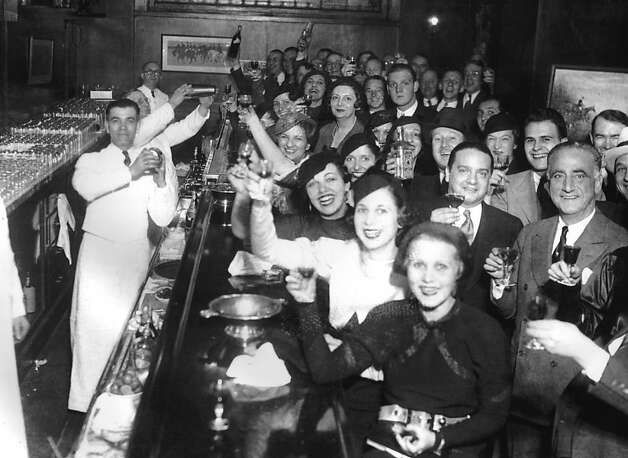 "An undated handout photo of Chicagoans celebrating the repeal of Prohibition at the Congress Hotel, in Chicago on Dec. 8, 1933. The new PBS documentary ""Prohibition"" explores the roots of the 18th Amendment banning alcohol sales, wedge-issue politics and legislating morality. (John Binder Collection via The New York Times) -- NO SALES; FOR EDITORIAL USE ONLY WITH STORY SLUGGED TV PROHIBITION ADV25 BY ELIZABETH JENSEN. ALL OTHER USE PROHIBITED. -- PHOTO MOVED IN ADVANCE AND NOT FOR USE - ONLINE OR IN PRINT - BEFORE SEPT. 25, 2011.   Ran on: 10-01-2011 Bartenders and patrons at Chicago's Congress Hotel raise their glasses to celebrate the repeal of Prohibition on Dec. 8, 1933. Photo: John Binder Collection, NYT"