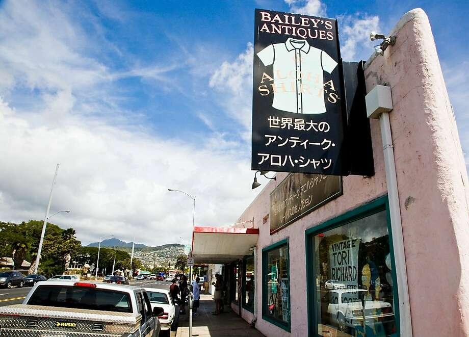 Bailey's Antiques & Aloha Shirts storefront Photo: Tor Johnson, HTA
