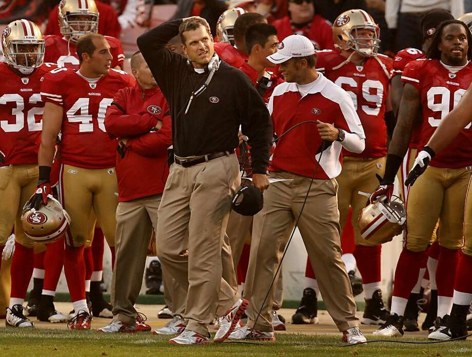 49er coach Jim Harbaugh took off his hat as he watched his 49ers go down to defeat. The San Francisco 49ers lost to the Houston Texans in a preseason game Saturday August 27, 2011 at Candlestick Park. Photo: Brant Ward, The Chronicle