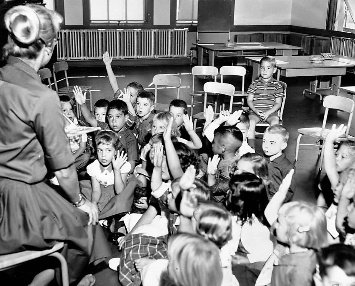 Kindergarten students seem eager (except for one) at Winfield Scott School in San Francisco. Sept. 8, 1960.