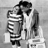 Dana Aisetewa and Tamara Richard enjoy their first day of school at Hollenbeck in San Francisco. (They're first graders but this goes in kindergarten slideshow.) Sept. 5, 1984