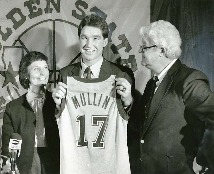 Chris Mullin with his father and mother, after being drafted with the first pick by the Golden State