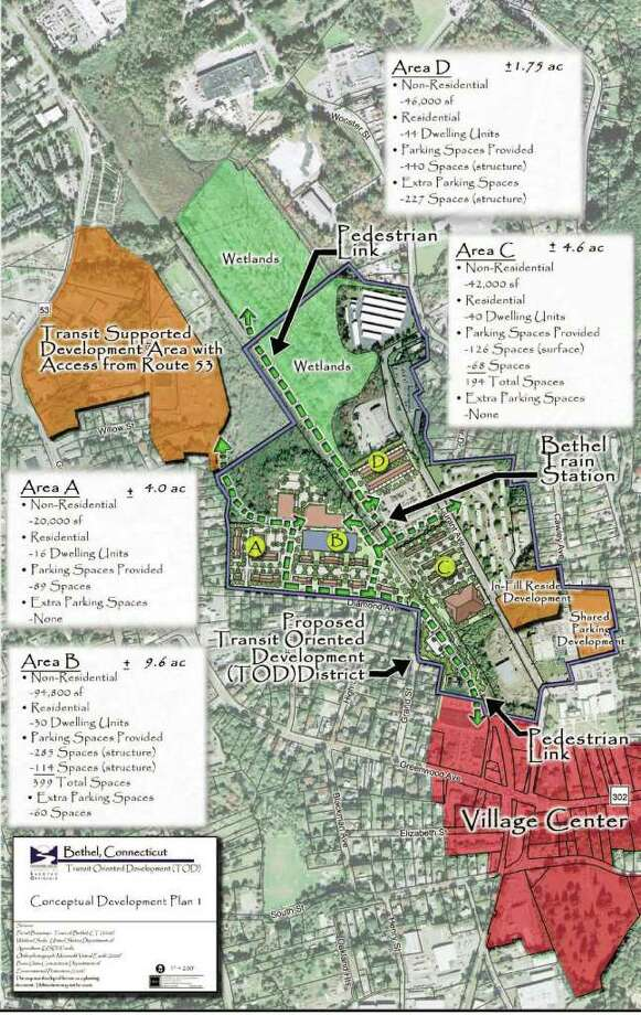 The Bethel Planning and Zoning Commission has a conceptual plan for a proposed transit oriented development district that encompasses 133 acres around the train station that would be rezoned for mxed use. Photo: Contributed Photo