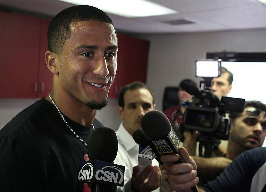 49er's quarterback Colin Kaepernick  talks about the beginning of the season in Santa Clara, Calif., on Thursday, July 28, 2011. Photo: Liz Hafalia, The Chronicle