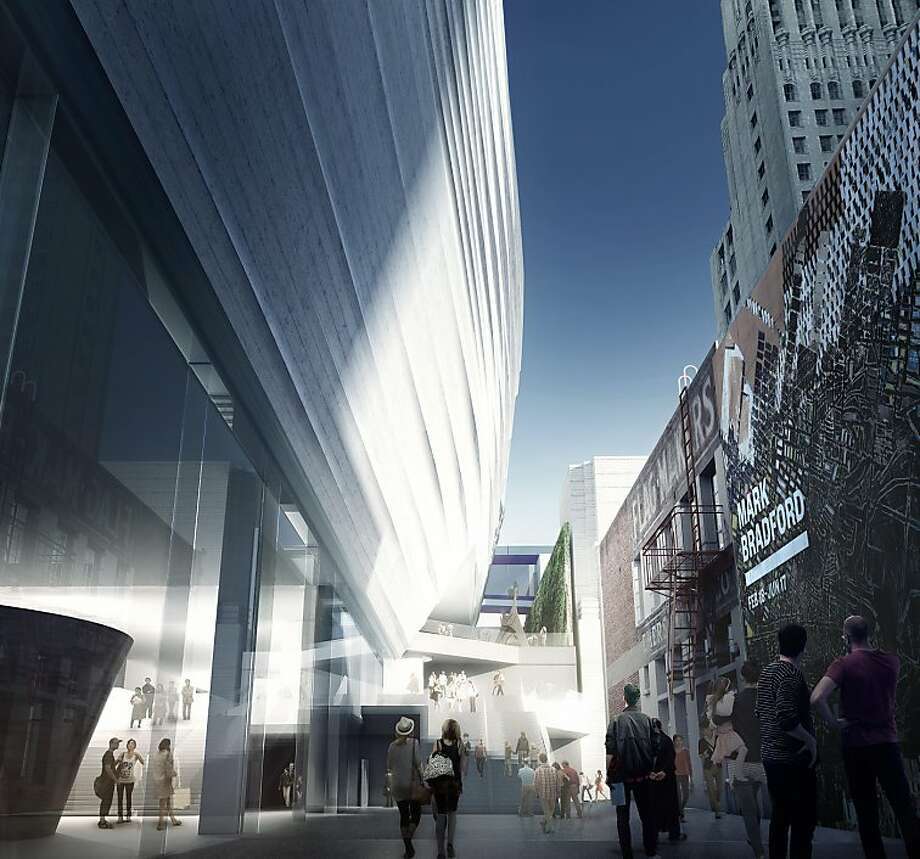 The proposed addition to the San Francisco Museum of Modern would double the amount of the institution's gallery space and include several outdoor terraces. This view shows a new public path from Howard Street that would lead to the museum's raised entry court in the middle of the block. Photo: Courtesy SFMOMA, Snohetta