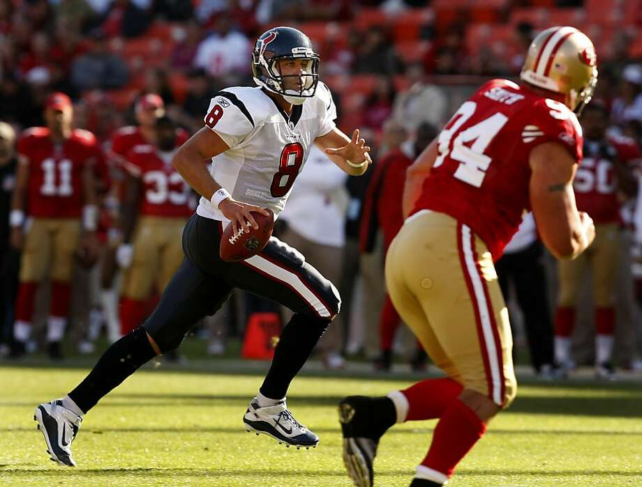 Texan quarterback Matt Schaub ran out of the pocket in the first quarter. The San Francisco 49ers lost to the Houston Texans in a preseason game Saturday August 27, 2011 at Candlestick Park. Photo: Brant Ward, The Chronicle