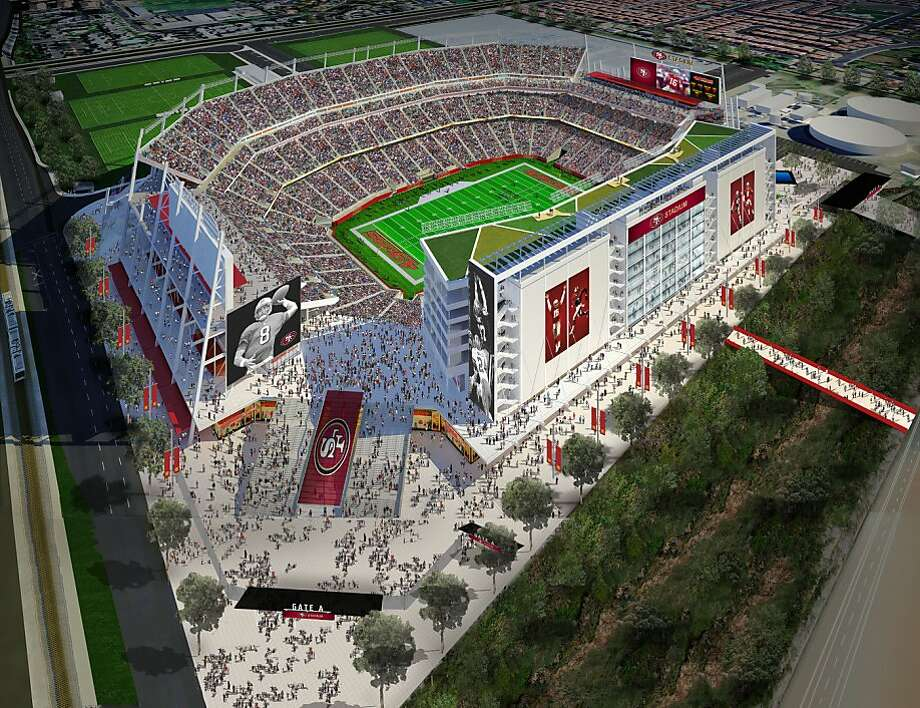 Artist's renderings illustrate an aerial view of the proposed new stadium for the San Francisco 49ers in Santa Clara, Calif. on Wednesday, August 3, 2011. Photo: Hntb, San Francisco 49ers