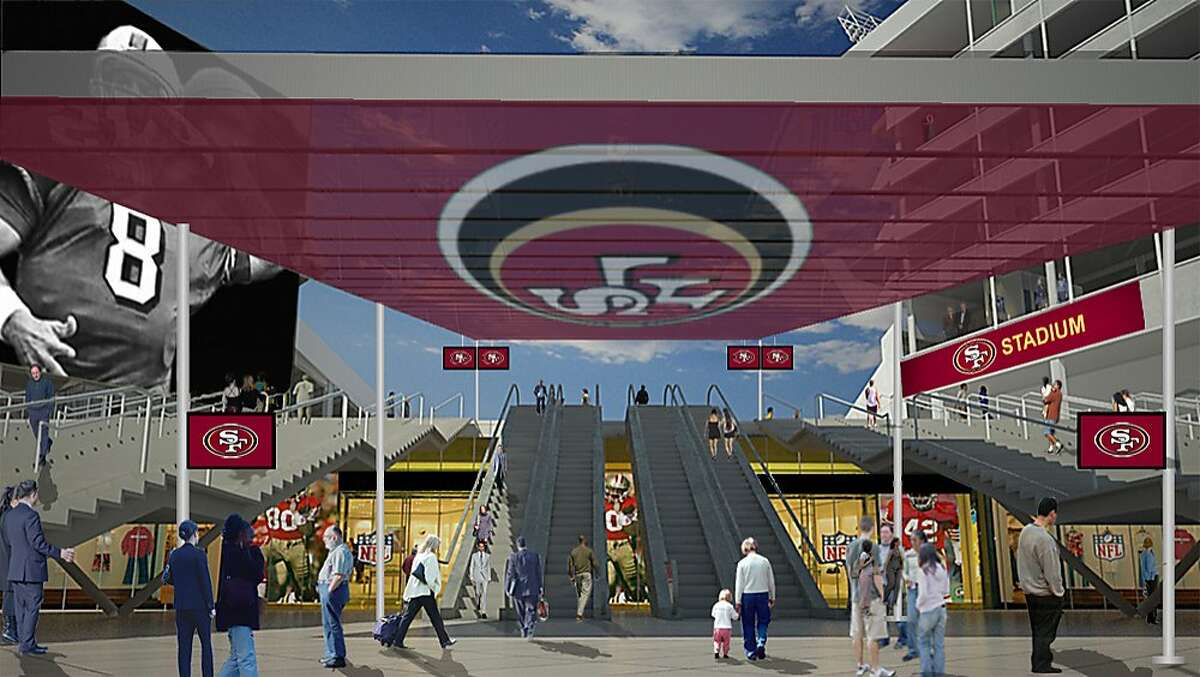 Artist's renderings illustrate the NorthWest Plaza Entry of the proposed new stadium for the San Francisco 49ers in Santa Clara, Calif. on Wednesday, August 3, 2011.