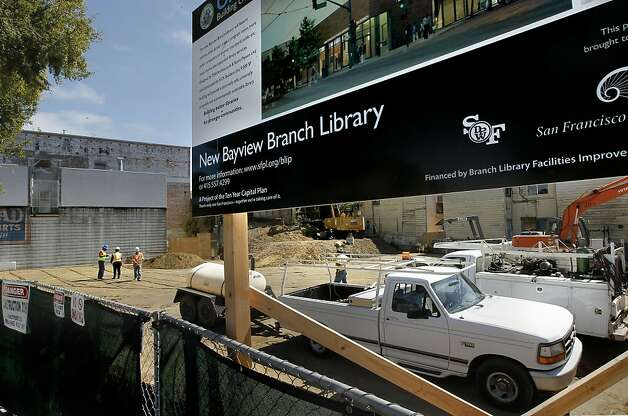 The rebuilding of the Bayview Branch Library on the 5700 block of Third Street, in San Francisco, Ca., on Friday August 26, 2011, is well underway. The Library Commission decided last week to increase the project's budget from $11.8 million to $13.6 million, leading some to question whether the process' benefits outweigh the expense. Photo: Michael Macor, The Chronicle
