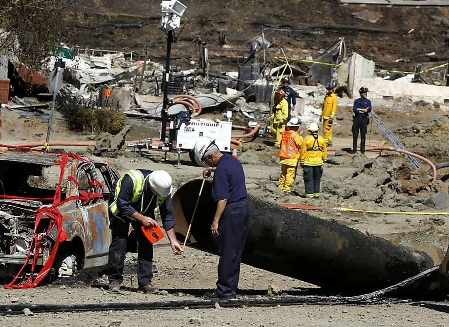 Federal investigators inspect a 40-foot section of pipeline on Glenview Drive in San Bruno, Calif. on Saturday, Sept. 11, 2010. Four people were killed and more than 35 homes destroyed after the pipeline exploded Thursday night.   Ran on: 09-15-2010 After a gas explosion last week, federal investigators inspect a 40-foot section of pipeline on Glenview Drive in San Bruno. Ran on: 02-13-2011 Federal investigators study part of pipeline in San Bruno days after the September explosion. PG&E says its database lacks details on key pipeline tests. Ran on: 02-13-2011 Federal investigators study part of pipeline in San Bruno days after the September explosion. PG&E says its database lacks details on key pipeline tests. Ran on: 06-05-2011 Federal investigators, seen last year at the blast site, are still trying to figure out where the faulty pipeline, installed in 1956, came from. Photo: Paul Chinn, The Chronicle