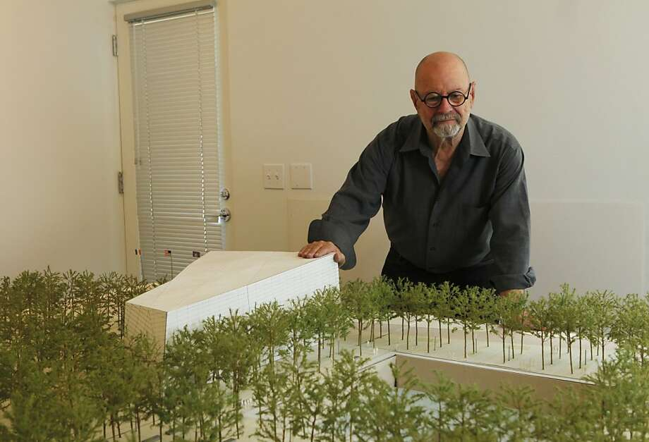 Peter Walker a venerable and highly regarded landscape architect stands in front of a modle of the new World Trade Center memorial plaza in his Berkeley Calif, office Wednesday August 24, 2011. Walker whose firm is half of the design team for the rebuilding of New York's World Trade Center memorial plaza is on a tight schedule with the 10th anniversary fast approaching. Photo: Lance Iversen, The Chronicle
