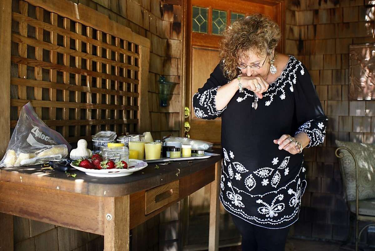 Laurie Stern makes scented moisturizer from beeswax, propolis, and the flowers in her garden. She has a booming business from her home in El Cerrito called Velvet and Sweetpea Purrfumery, selling honey perfume, and beeswax-based skin products, all online.