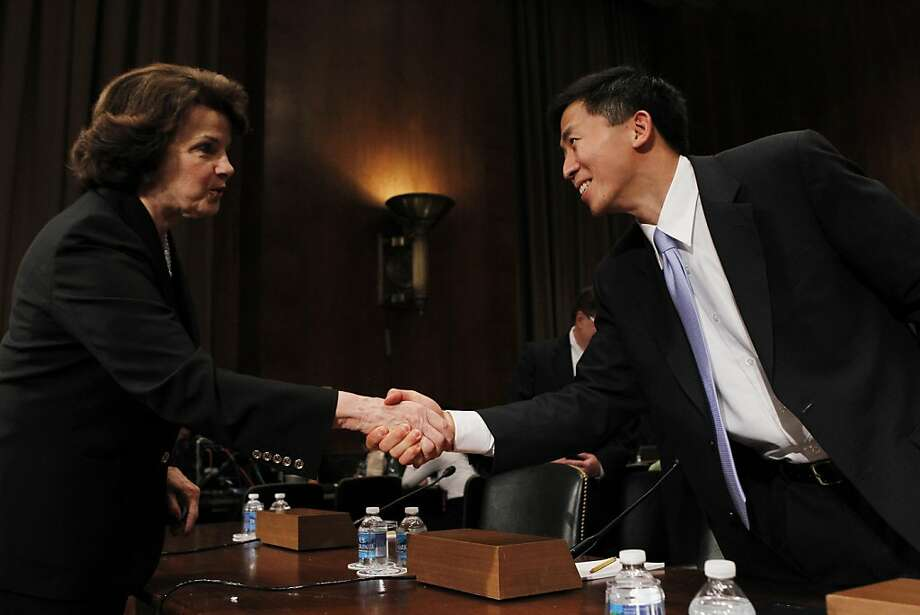California law professor Goodwin Liu, President Barack Obama's nominee for a seat on the 9th U.S. Circuit Court of Appeals, is greeted on Capitol Hill in Washington, Friday, April 16, 2010, by Senate Judiciary Committee member Sen. Dianne Feinstein, D-Calif., prior to his testifying before the Senate Judiciary Committee. (AP Photo/Charles Dharapak)  Ran on: 04-17-2010 Sen. Dianne Feinstein greets Goodwin Liu on Capitol Hill before his appearance at the Senate Judiciary Committee. Ran on: 04-17-2010 Sen. Dianne Feinstein greets Goodwin Liu on Capitol Hill before his appearance at the Senate Judiciary Committee. Photo: Charles Dharapak, AP
