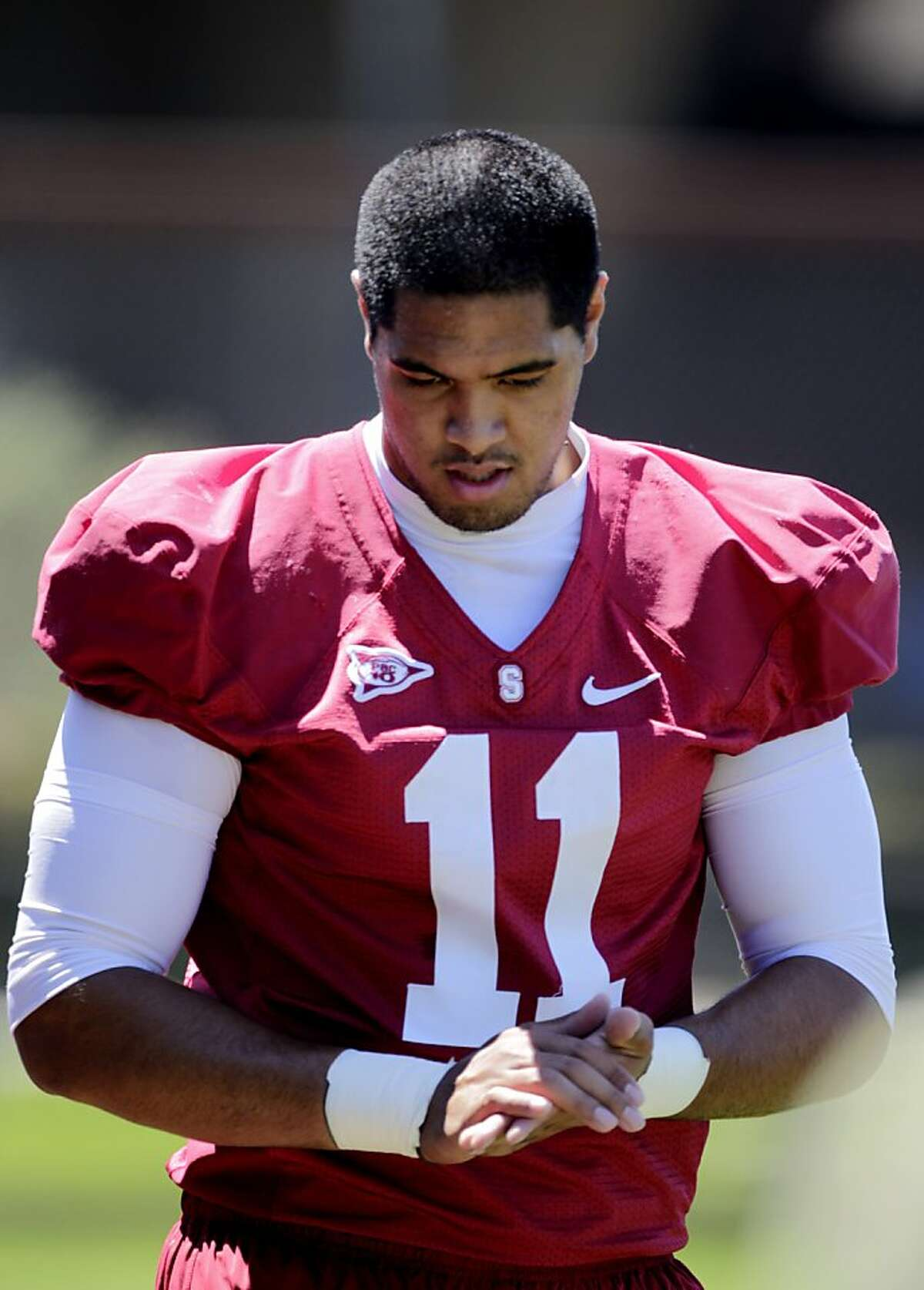 The Stanford's tight end Levine Toilolo prepares to take the field during practice at training camp, Monday August 8, 2011, in Stanford Calif.