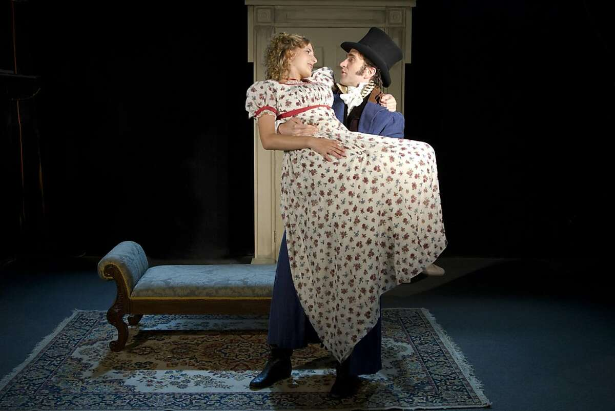 """Sense and Sensibility 2.jpg -- Marianne Dashwood (Katie Fabel) is rescued by the handsome stranger Willoughby (Michael Scott McLean) in the American Premiere of """"Sense and Sensibility"""" at TheatreWorks. Photo by Tracy Martin"""