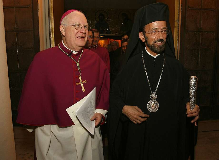 bishop30_0138_mac.jpg   Niederauer, (left) and Gerasimos walk together follow the service. San Francisco's highest ranking Greek Orthodox leader (Metropolitan Gerasimos) and its highest-ranking Catholic leader (Archbishop George Niederauer) comemorate the Pope's visit to the Ecumenical Patriarchate of Constantinople Wednesday by visiting with each other. The gathering also celebrates the donation by Ginnie and Leo Koulos of the ñMadonna In Tronoî mosaic & shrine.  Event in, San Francisco, Mo, on 11/29/06.   Photo by: Michael Macor/ San Francisco Chronicle  Ran on: 11-30-2006 Metropolitan Gerasimos (right) and Archbishop George Niederauer join in the blessing of a colorful mosaic depicting the Virgin Mary and Jesus. Ran on: 11-30-2006 Metropolitan Gerasimos (right) and Archbishop George Niederauer join in the blessing of a colorful mosaic depicting the Virgin Mary and Jesus. Ran on: 12-04-2008 Archbishop George Niederauer helped bring the Church of Jesus Christ of Latter-day Saints into the fight get Proposition 8 passed. Ran on: 12-04-2008  Ran on: 12-04-2008  Ran on: 12-04-2008  Ran on: 12-04-2008  Ran on: 12-04-2008  Ran on: 12-31-2008 Gov. Arnold Schwarzenegger won with legislative redistricting reform, but struggles with lawmakers over the state budget. Ran on: 12-31-2008 Photo: Michael Macor, The Chronicle