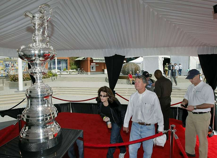 The 34th AmericaÕs Cup trophy won by the Oracle Racing team and owner Larry Ellison is on display for those Sailing enthusiasts and the general public attending Strictly Sail Pacific Boat show at Jack London Square in Oakland through the weekend. Thursday, April 14, 2011. Photo: Lance Iversen, The Chronicle