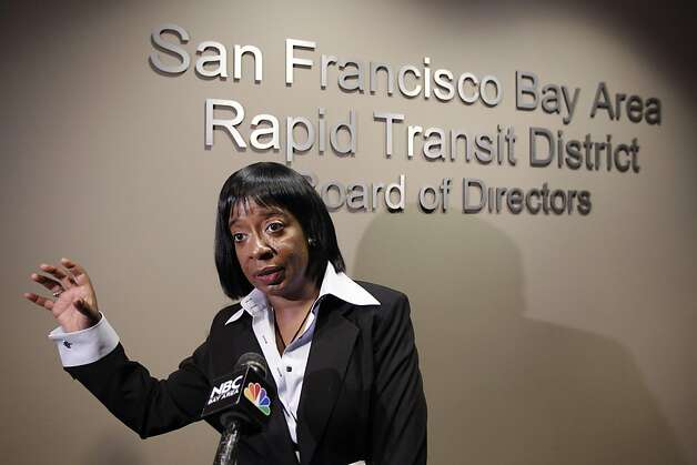 Bay Area Rapid Transit (BART) agency board of director member Lynette Sweet answer a question during a news conference after a public meeting at BART headquarters in Oakland, Calif., Wednesday, Aug. 24, 2011 to help ease tensions over whether there should be a policy on cutting wireless access to its stations during protests. The discussion was whether it wants to continue using the tactic, which drew unfavorable comparisons to Hosni Mubarak's attempts to cut Internet access to most of Egypt to quell demonstrations protesting his regime. (AP Photo/Paul Sakuma) Photo: Paul Sakuma, AP