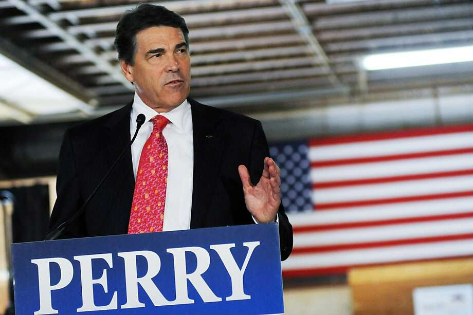 PEMBROKE, NH - AUGUST 18:   Republican presidential candidate and Texas Governor Rick Perry speaks to workers at Epoch Homes August 18, 2011 in Pembroke, New Hampshire. Perry has been campaigning since he declared his candidacy for the Republican nomination on August 13.  (Photo by Darren McCollester/Getty Images) Photo: Darren McCollester, Getty Images