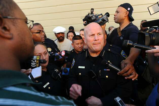 San Francisco Police Chief Greg Suhr leaves a community meeting for Bayview residents upset about the police shooting of Kenneth Wade Harding on Wednesday, July 20, 2011, in San Francisco. About 300 people gathered for the meeting which ended early following outbursts from some attendees. Ran on: 07-21-2011 Police Chief Greg Suhr leaves a community meeting at the Bayvew Opera House, where he tried to answer questions about Saturday's police killing of a parolee. Ran on: 07-21-2011 Police Chief Greg Suhr leaves a community meeting at the Bayvew Opera House, where he tried to answer questions about Saturday's police killing of a parolee. Photo: Noah Berger, Special To The Chronicle