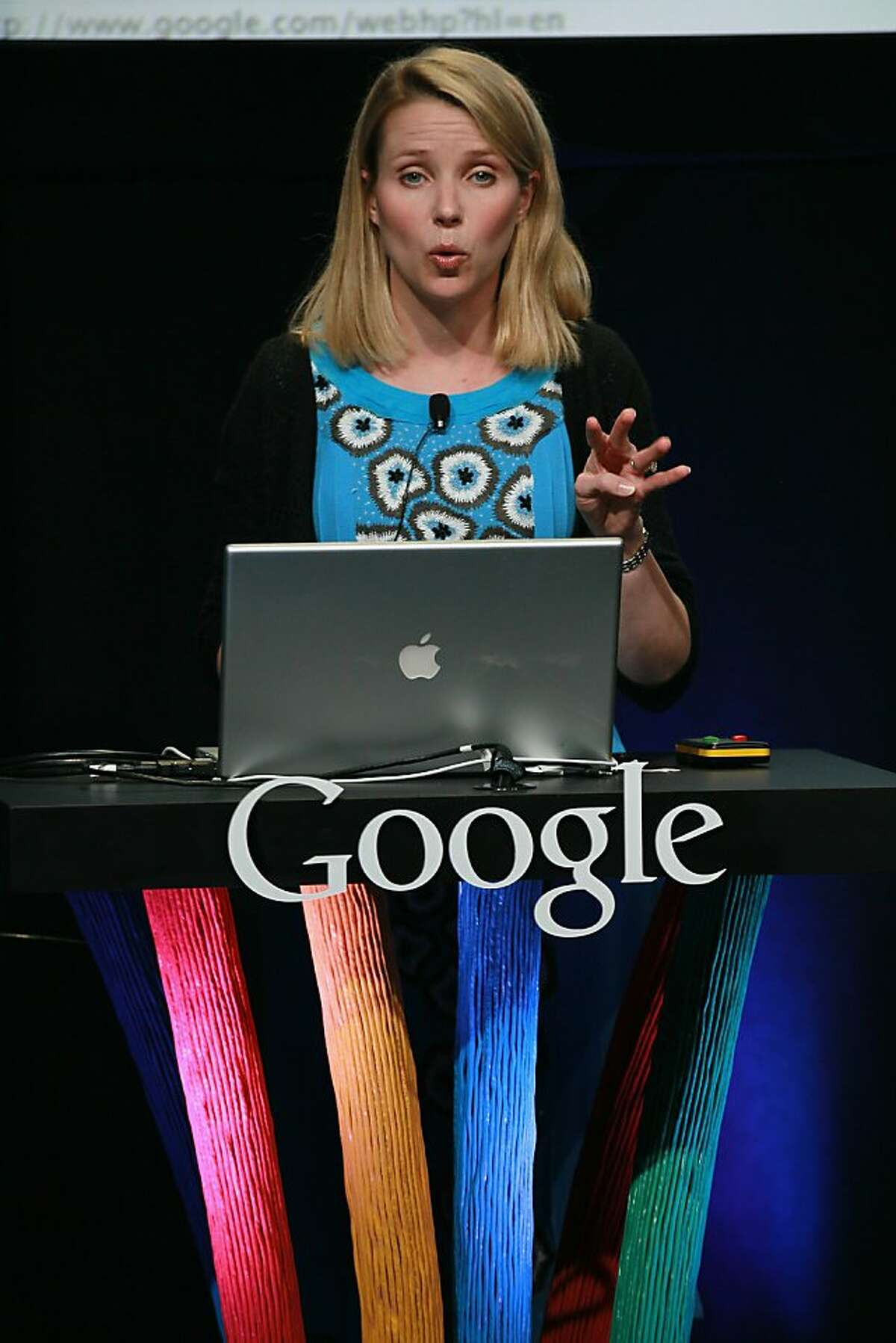 SAN FRANCISCO - SEPTEMBER 08: Google Vice President of Search Product and User Experience Marissa Mayer speaks during an announcement September 8, 2010 in San Francisco, California. Google announced the launch of Google Instant, a faster version of Google search that streams results live as you type your query. (Photo by Justin Sullivan/Getty Images) Ran on: 09-09-2010 Marissa Mayer, a Google vice president, outlines the instant search technology.