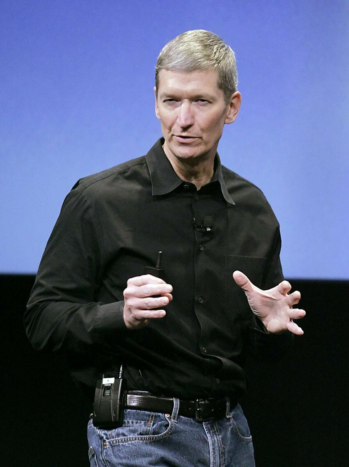 FILE - In this Oct. 14, 2008 file photoApple's chief operating officer, Tim Cook gestures during a meeting at Apple headquarters in Cupertino, Calif. Apple Inc. on Wednesday, Aug. 24, 2011 said Steve Jobs is resigning as CEO, effective immediately. He will be replaced by Cook, who was the company's chief operating officer. It said Jobs has been elected as Apple's chairman. (AP Photo/Paul Sakuma, File)