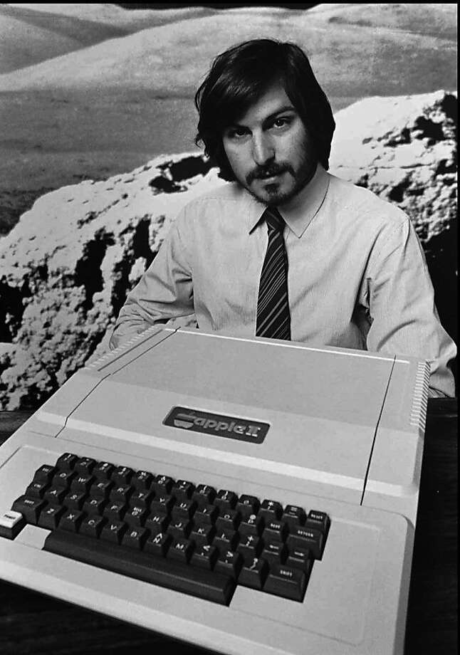 This is a 1977 photo of Apple Computer Inc. founder Steve Jobs as he introduces the new Apple II in Cupertino, Calif. Apple Computer was formed on April Fool's Day in 1976. Photo: Apple Computers,  Inc., AP