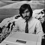 This is a 1977 photo of Apple Computer Inc. founder Steve Jobs as he introduces the new Apple II in Cupertino, Calif. Apple Computer was formed 20 years ago, on April Fool's Day in 1976.