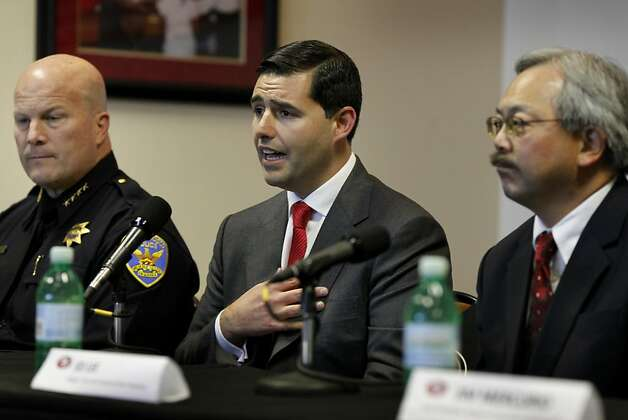 49er President Jed York (center) announced the end of 49er-Raider preseason games for a few years.  He was seated between SF Police Chief Greg Suhr (left) and Mayor Ed Lee (right). A press briefing was held at Candlestick Park Monday August 22, 2011 to discuss the fan violence that erupted after the 49er-Raider game Saturday night. Photo: Brant Ward, The Chronicle
