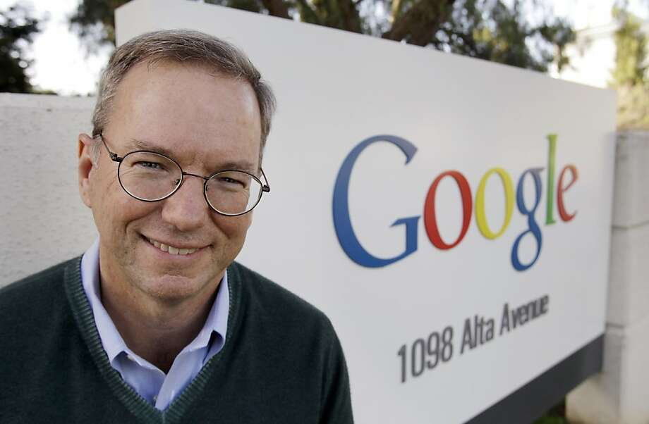 FILE - In this Jan. 19, 2011 file photo, Google Executive Chairman Eric Schmidt smiles outside of Google headquarters in Mountain View, Calif. If he had a another chance, former Google CEO Eric Schmidt would have pressed the Internet search leader to focus more on mounting a challenge to Facebook while he was still running the company. (AP Photo/Paul Sakuma, file)   Ran on: 06-05-2011 Eric Schmidt says that as Google CEO, he should have responded earlier to Facebook's moves.  Ran on: 07-11-2011 Chairman Eric Schmidt will face tough questions on Google's role in the online search marketplace. Photo: Paul Sakuma, AP