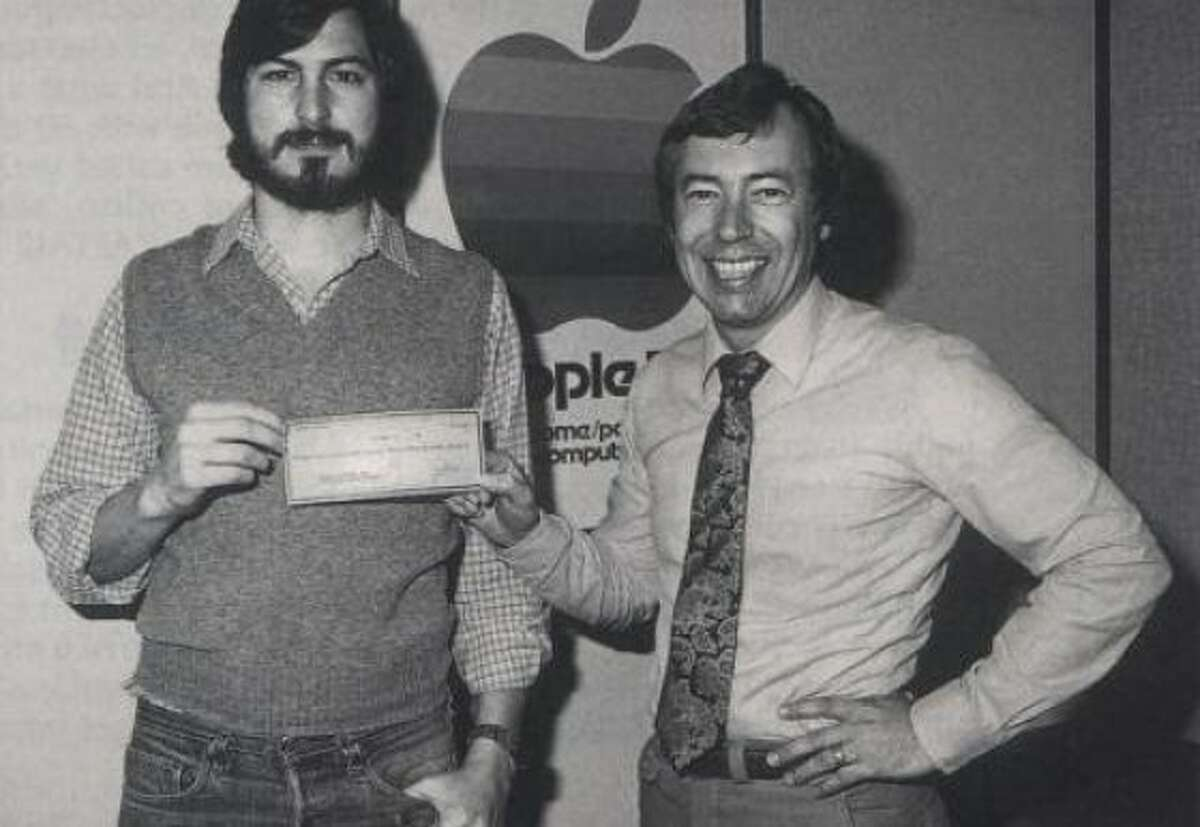 Steve Jobs receives an infusion of cash from venture capitalists Don Valentine and Mike Markkula, pictured here, to start Apple in the 1970s.