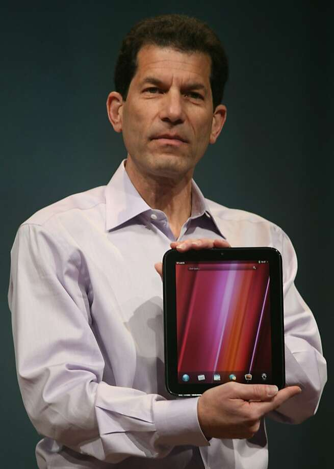 Jon Rubinstein, senior vice president and general manager of HP Palm, introduces the HP Palm tablet, TouchPad, during the WebOS event at Fort Mason's Herbst Pavilion on February 9, 2011 in San Francisco, California. AFP Photo/Kimihiro Hoshino (Photo credit should read KIMIHIRO HOSHINO/AFP/Getty Images)  Ran on: 02-10-2011 Jon Rubinstein shows off the TouchPad at Fort Mason.  Ran on: 06-27-2011 Jon Rubinstein, who came to HP when the company purchased Palm, shows off the TouchPad tablet during a February event at Fort Mason. Photo: Kimihiro Hoshino, AFP/Getty Images