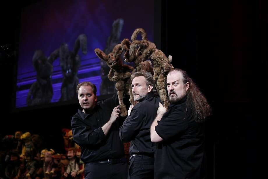 """Stuffed and Unstrung"" puppeteers (from left) Michael Oosterom, Brian Henson and Tyler Bunch turn audience suggestions into improvised sketches. Photo: Carol Rosegg"