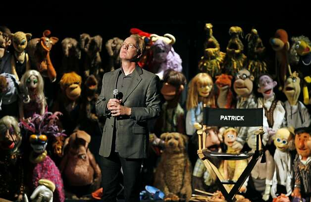 "Co-creator, Director and host of the Henson puppets in ""Stuffed Patrick Bristow calls on the audience to help create scenes in the show. Muppet audience is treated to two shows in one, the first show offers two large screens so you can view the performance much like a movie, the other is watching the performers do their magic with the Muppets on stage. Henson puppets in ""Stuffed and Unstrung"" is now playing at the Curran Theatre, offering standup comedy only the Muppets/puppets can do Thursday August 18, 2011 Photo: Lance Iversen, The Chronicle"