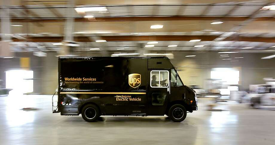 The very first UPS vehicle produced at the EVI (Electric Vehicles International) assembly plant, displayed on Wednesday August 24, 2011, in Stockton, Ca. United Parcel Service has just ordered 100 of the electric delivery vehicles which will be stationed in several California cities, including Bakersfield, Fresno and Modesto. Photo: Michael Macor, The Chronicle