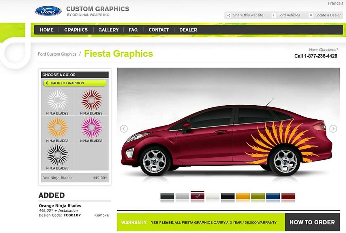 Ford motors' website allows the buy to customize their choice of car with color and graphics.