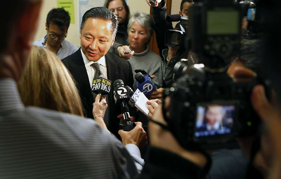 San Francisco public defender Jeff Adachi entered the San Francisco mayors race Friday, Aug.12, 2011. After filling the necessary paper work at City Hall, within minutes of the final deadline. Photo: Lance Iversen, The Chronicle