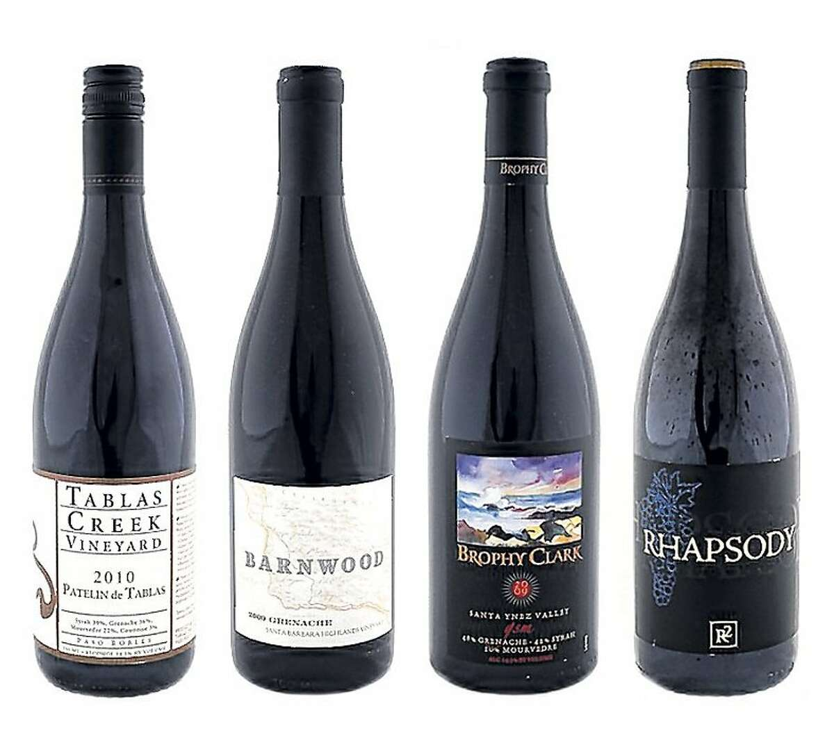 From left. 2010 Tablas Creek Patelin de Tablas Paso Robles Red; 2009 Barnwood Santa Barbara Highlands Vineyard Santa Barbara County Grenache; 2009 Brophy Clark GSM Santa Ynez Valley Red; 2009 R2 Wine Co. Rhapsody en Blu Santa Ynez Valley Red ###Live Caption:2010 Tablas Creek Patelin de Tablas Paso Robles Red as seen in San Francisco, California, on Wednesday, August 17, 2011.###Caption History:2010 Tablas Creek Patelin de Tablas Paso Robles Red as seen in San Francisco, California, on Wednesday, August 17, 2011.###Notes:###Special Instructions:MANDATORY CREDIT FOR PHOTOG AND SF CHRONICLE/NO SALES-MAGS OUT-INTERNET_OUT-TV OUT Food#Food#Broadsheet#08/21/2011#ALL#Advance2##0503968025